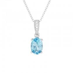 14K White Gold  Blue Topaz and Diamond Pendant, 4 Round Diamonds .01ctw