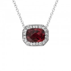 14K White Gold  Garnet And Diamond Pendant, 20 Round Diamonds .16Ctw