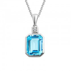 14K White Gold  Emerald Cut Blue Topaz Pendant on 16
