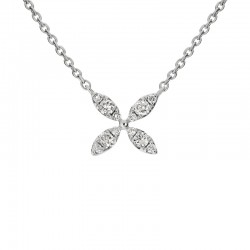 14K White Gold  Petal Flower Pendant with 0.16ctw Round Diamonds