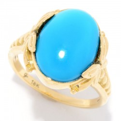 Samuel B. 18KY 14X10 Sleeping Beauty Turquoise Ring
