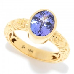 Samuel B. 18ky Gold 9X7 Oval Tanzanite Ring