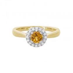 14K Yellow Gold  Citrine And Diamond Halo Ring, 16 Round Diamonds 0.11Ctw