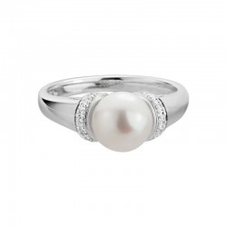 14KW Freshwater Pearl and Diamond Ring