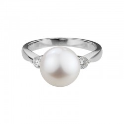 14K White Gold  10mm Freshwater Pearl and Diamond Ring, 2 Round Diamonds 0.21ctw