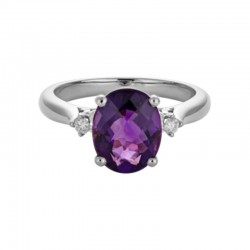 14K White Gold Amethyst and Diamond Ring, 2 Round Diamonds 0.06ctw