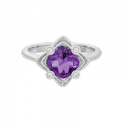 14K White Gold  Filigree Amethyst and Diamond Ring, 4 Round Daimonds 0.04ctw
