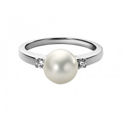 14K White Gold  8mm Freshwater Pearl and Diamond Ring, 2 Round Diamonds 0.095ctw
