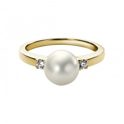 14K Yellow Gold Ring 8MM Round Fresh Water Pearl .095 tcw Diamonds