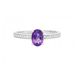 14K White Gold  Amethyst and Diamond Ring, 20 Round Diamonds 0.07ctw
