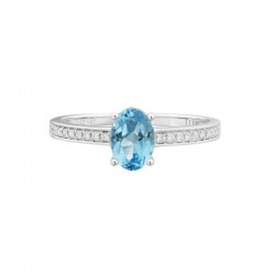 14K White Gold  Blue Topaz and Diamond Ring, 20 Round Diamonds 0.07ctw