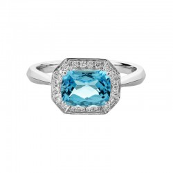 14K White Gold  Ring with 1.90ct Octagonal Blue Topaz and 0.14ctw Diamond Halo