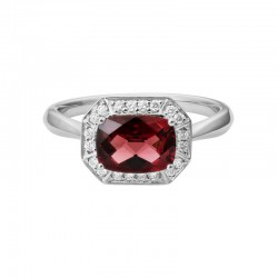 14K White Gold Garnet and Diamond Halo Ring, 20 Round Diamonds 0.14ctw, Size 7