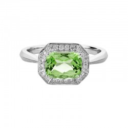 14K White Gold  Ring with 1.58ct Octagonal Peridot and 0.14ctw Diamond Halo