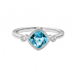 14K White Gold  Blue Topaz and Diamond Ring, 2 Round Diamonds 0.05ctw