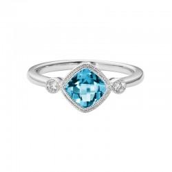 14K White Gold  Blue Topaz and Diamond Ring, 2 Round Diamonds 0.05ctw
