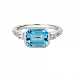 14K White Gold  Ring with Emerald Cut Blue Topaz and two 0.05ctw Round Diamonds
