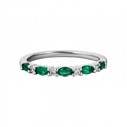 14KW Emerald & Diamond Band