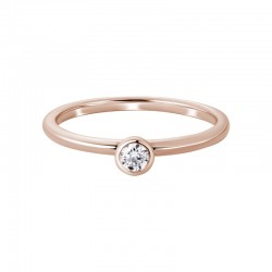 14K Rose Gold Round Diamond Ring