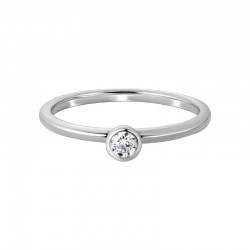 14K White Gold Round Diamond Ring