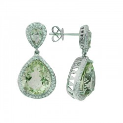 14K White Gold Diamond & Green Amethyst Earrings. Round Diamonds 0.61 TCW & Pear Green Amethyst 11.60 TCW