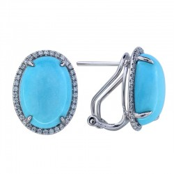 Lady's 14KW Gold Earrings with 2=10.16tw Oval Turquoise And 0.29tw Round Diamonds