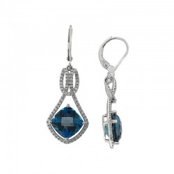 14 K White Gold Diamond & Blue London Topaz Earrings. Round Diamond 0.58 TCW & Blue Topaz 8.00 TCW