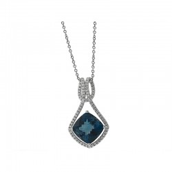 14K White Gold Diamond & London Blue Topaz Pendent. Round Diamond 0.34 TCW & London Blue Topaz 5.55 TCW