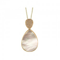 Lady's 14KY Gold Pendant with Mother of Pearl and 0.16ct Round Diamonds
