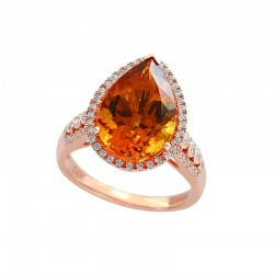 14K Rose Gold Diamond & Madera Citrine Ring. Round Diamonds 0.36 TCW & Pear Madera Citrine 5.35 TCW