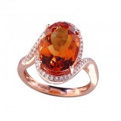 14K Rose Gold Diamond & Madera Citrine Ring. Round Diamonds 0.19 TCW & Oval Madera Citrine 6.60 TCW