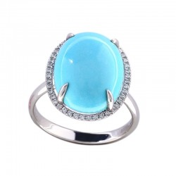 14K White Gold Diamond & Turquoise Ring. Round Diamonds 0.17 TCW & Oval Turquoise 8.75 TCW