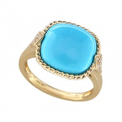 Lady's 14KY Gold Ring with 7.28ct Turquoise & 14=0.07tw Round Diamonds, Size 7