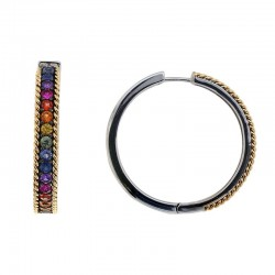 925 Sterling Silver & 18K Yellow Gold Rainbow Sapphire Hoop Earrings. Pink & Purple Sapphire 2.10 TCW