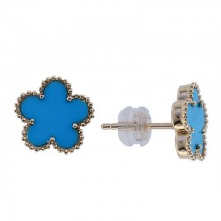 14K Yellow Gold  Turquoise Earrings  1.65 TCW