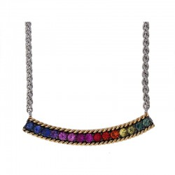 925 Sterling Silver & 18K Yellow Gold Rainbow Sapphire Necklace. Pink & Purple Sapphire