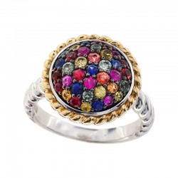 925 Sterling Silver & 18K Yellow Gold Rainbow Sapphire Ring. Pink & Purple Sapphire 1.22 TCW