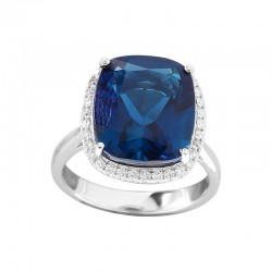 14K White Gold Diamond & London Blue Ring
