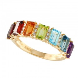 Lady's 14KY Multi-Colored Stones & Round Diamonds (0.13tdw) Ring, Size 7