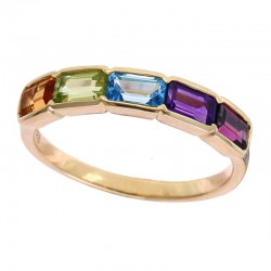 14K Yellow Gold With Amethyst, Blue Topaz, Citrine, Rhodolite, Peridot Ring  1.55 TCW