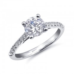 14K White Gold Diamond Semi-Mount Ring with 16 Round Diamonds at 0.21ct with CZ Center Stone in Fishtail Setting