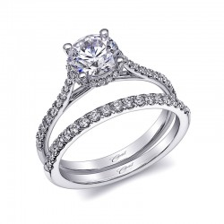 14K White Gold Semi-Mount Diamond Ring with 34 Round Diamonds at .24ct with 1.00ct CZ Center Stone in Fishtail Setting.
