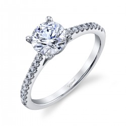 14KW Diamond Semi-Mount Fishtail .23Ct Tw Round Diamonds 4 Double Prong 1Ct Mounting