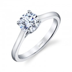 14K White Gold Semi-Mount Diamond Engagement Ring with 2 Round Diamonds at .01ct & 7X5MM Oval CZ Center Stone.