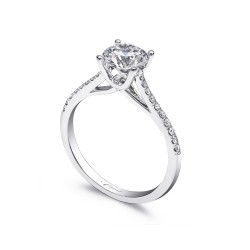 14KW Cathedral Style Diamond Semi-Mount With Diamonds On Shank, Ring Has A  1/2Ct Round Built In Head
