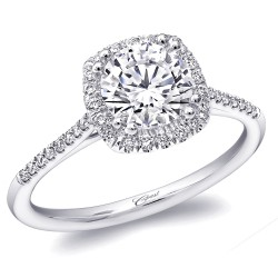14K White Gold Diamond Engagement Ring with 38 Round Diamonds at 0.15ct  & a 3/4ct CZ Center Stone