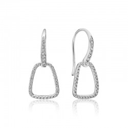 14K White Gold Artichoke-Hook Earrings with Diamonds