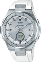 G-Shock Ladies' Baby-G Watch GMS Solar Resin Strap, White/Silver Dial