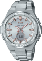 G-Shock Ladies' Baby-G GMS ST Watch. Silver/Rose Dial