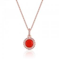 Luvente Coral and Diamond Pendant